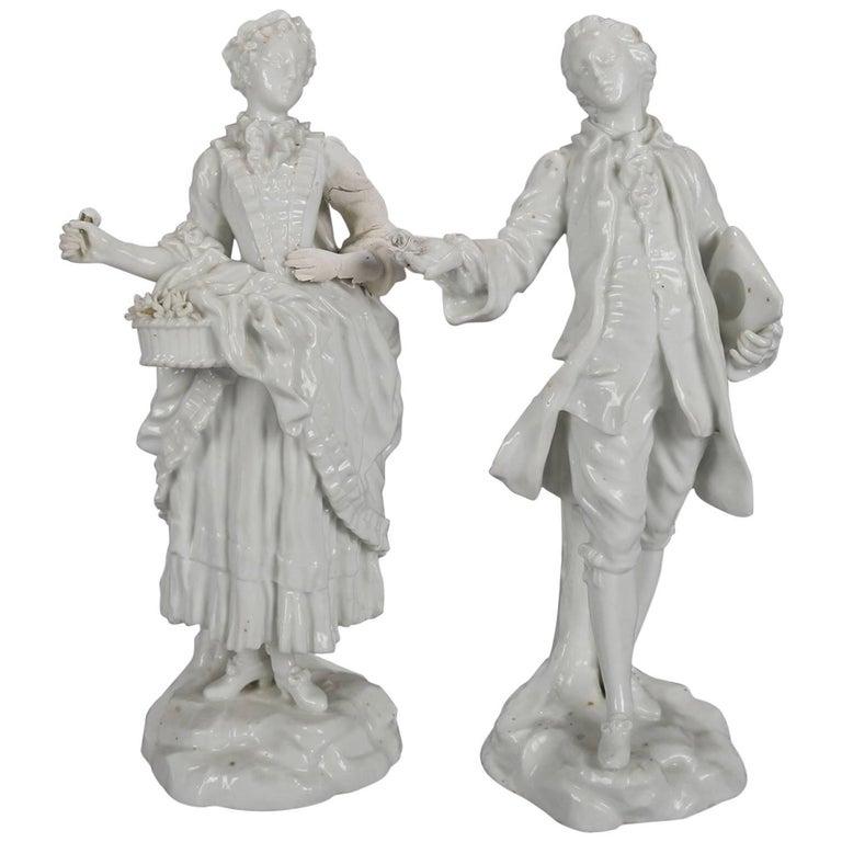 German Meissen Blanc de Chine Style Porcelain Figures, Courting Couple For Sale