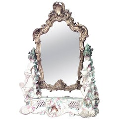 German Meissen Porcelain and Gilt Framed Dressing Table Mirror