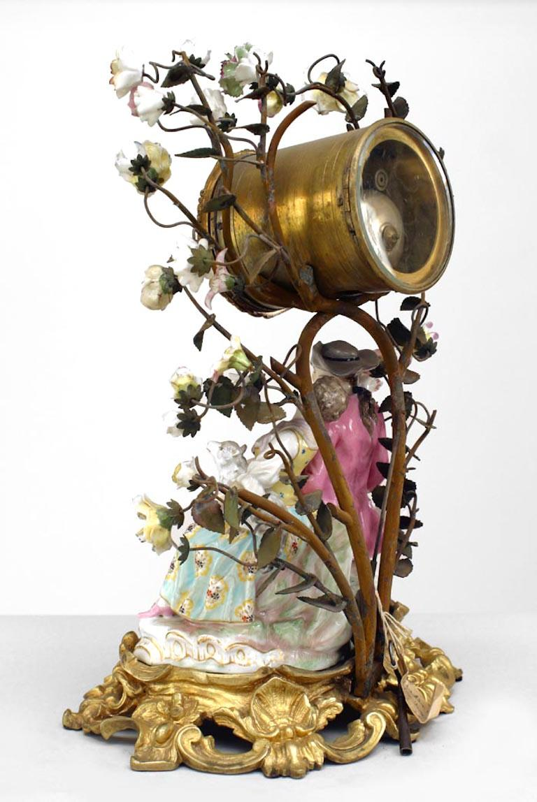 Neoclassical German Meissen Porcelain Clock For Sale