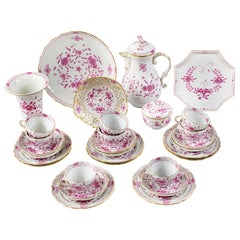 "German Meissen ""Purple Indian"" Porcelain Coffee/Tea Set"