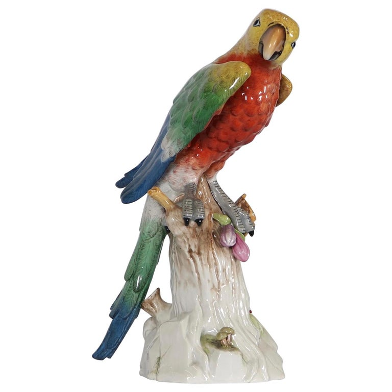 German Meissen Style Porcelain Macaw Parrot Figurine For Sale