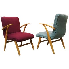 German Midcentury Beech and Colored Fabric Armchairs, 1960s
