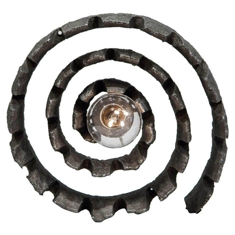 Wrought Iron German Mid-Century Modern Brutalist Spiral Sculpture Lamp, C. 1960's For Sale