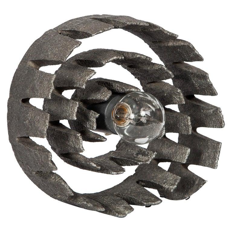 German Mid-Century Modern Brutalist Spiral Sculpture Lamp, C. 1960's For Sale