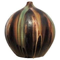 German Mid-Century Modern Floor Lamp Stand Glazed Ceramics Green Brown