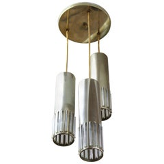 German Mid-Century Modern Tubular Metal and Glass Pendant