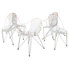 German Midcentury Set of Five White Painted Iron Garden Chairs, 1950s