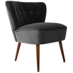 German Midcentury Black Velvet Club Armchair, 1960s