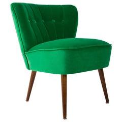 German Midcentury Green Velvet Club Armchair, 1960s