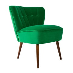 German Midcentury Green Velvet Club Armchair, 1960s
