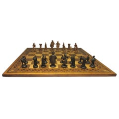 German Midcentury Hand Carved Black Forest Chess Set