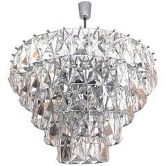 German Midcentury Large Crystal Chandelier by Kinkeldey, 1960s