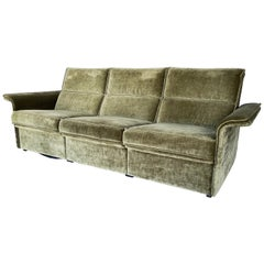 German Midcentury Sofa with Wing Arms and Mohair Velvet Upholstery by COR
