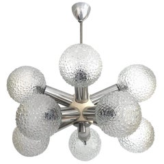German Midcentury Sputnik Glass Balls Chandelier, 1970s