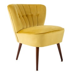 German Midcentury Yellow Velvet Club Armchair, 1960s