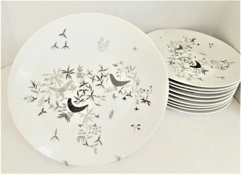 German Modern Rosenthal Birds on Trees 10 Dinner Plates Raymond Loewy 1961-64  For Sale 4