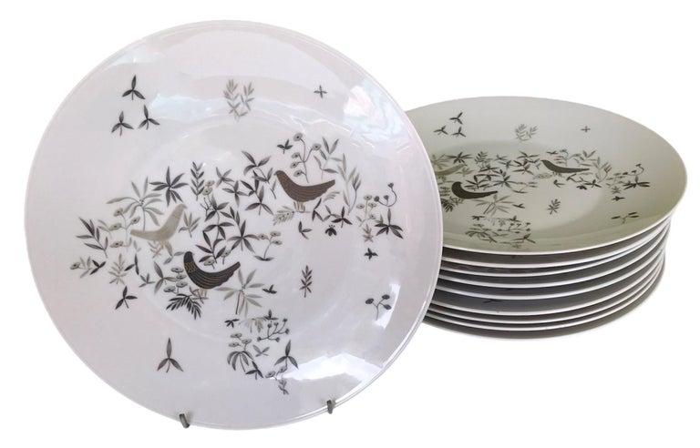 German Modern Rosenthal Birds on Trees 10 Dinner Plates Raymond Loewy 1961-64  For Sale 5