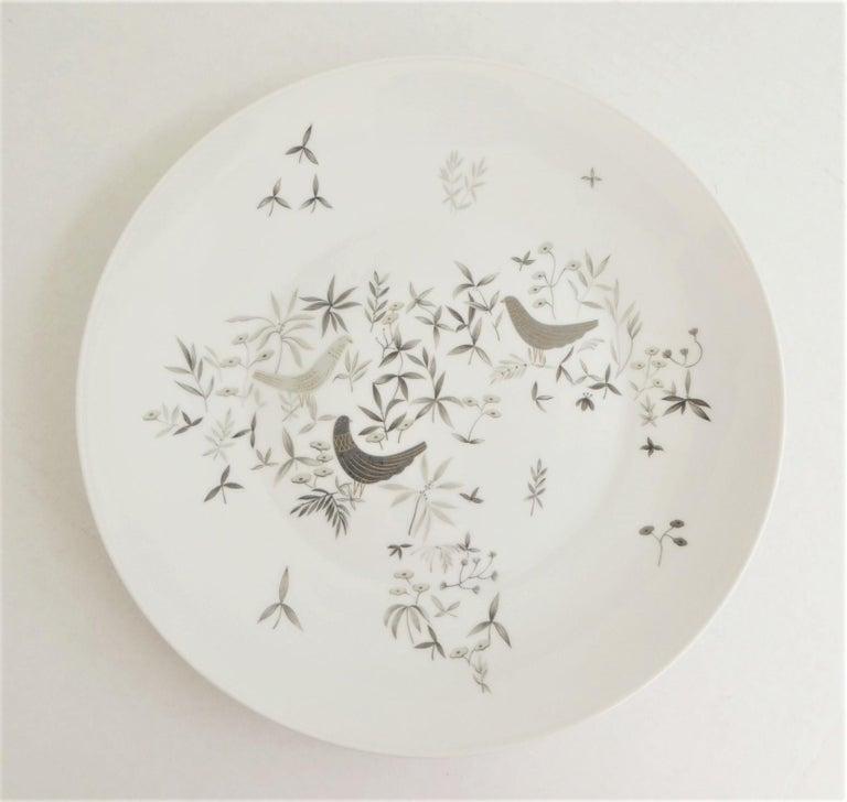 Mid-Century Modern German Modern Rosenthal Birds on Trees 10 Dinner Plates Raymond Loewy 1961-64  For Sale