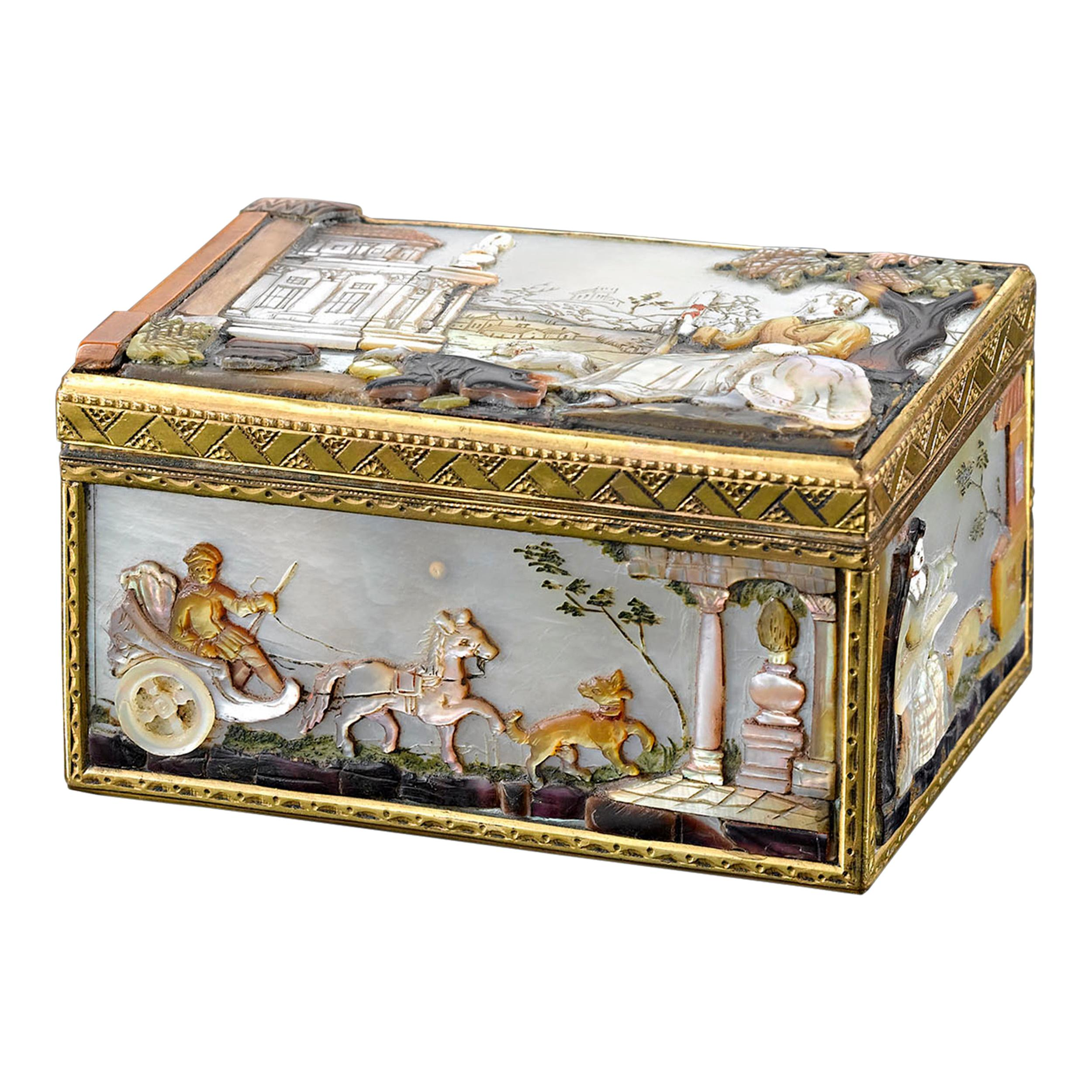 German Mother of Pearl Snuff Box