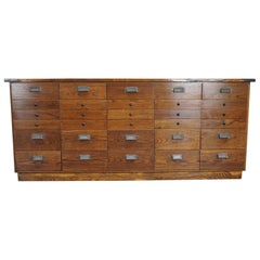 German Oak Apothecary Cabinet or Bank of Drawers, 1940s