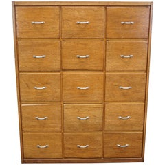 German Oak Apothecary Cabinet or Bank of Drawers, 1950s