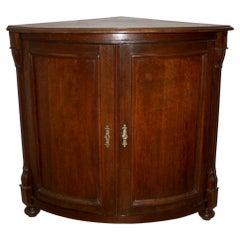 German Oak Bow-front Corner Cabinet, circa 1900