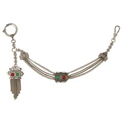 German Oberstein Antique Silver Tone Pocket Watch Chain Red and Green Stones
