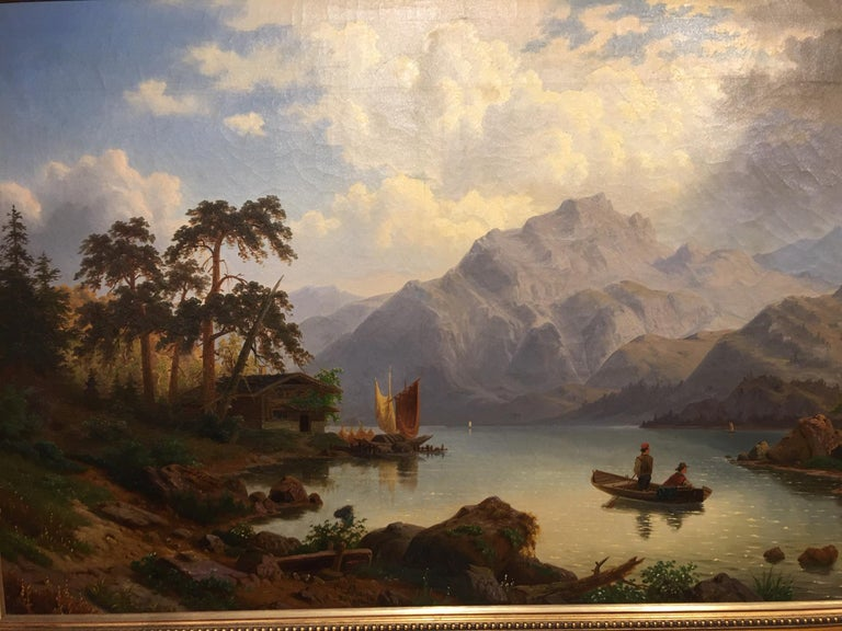 German Oil on Canvas Landscape with Boaters by Carl Schmitz, Early 20th Century In Good Condition For Sale In Savannah, GA