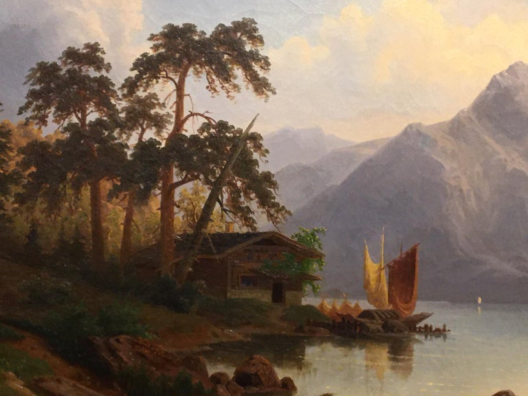 German Oil on Canvas Landscape with Boaters by Carl Schmitz, Early 20th Century For Sale 2