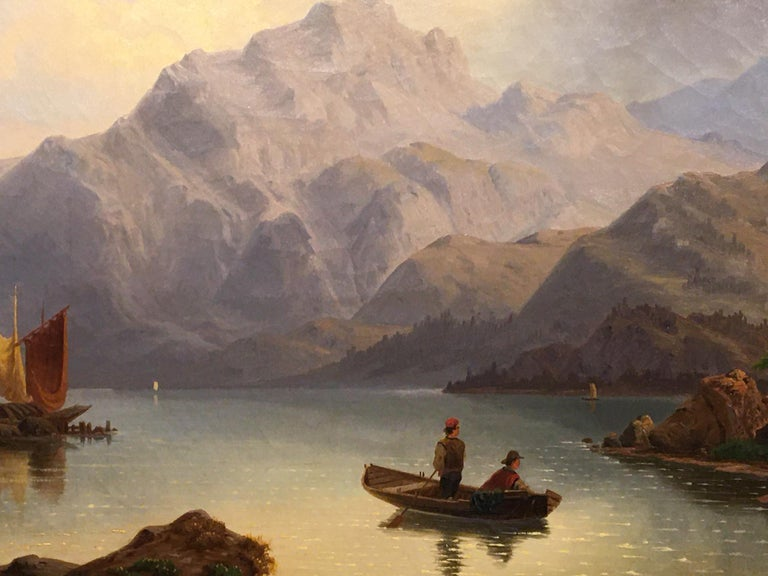 German Oil on Canvas Landscape with Boaters by Carl Schmitz, Early 20th Century For Sale 3