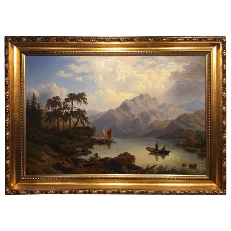 German Oil on Canvas Landscape with Boaters by Carl Schmitz, Early 20th Century For Sale