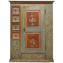 German Painted and Decorated Pine Cupboard with Drawers Inscribed and Dated 1794