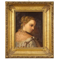 German Painting Portrait of a Young Noblewoman from the 19th Century