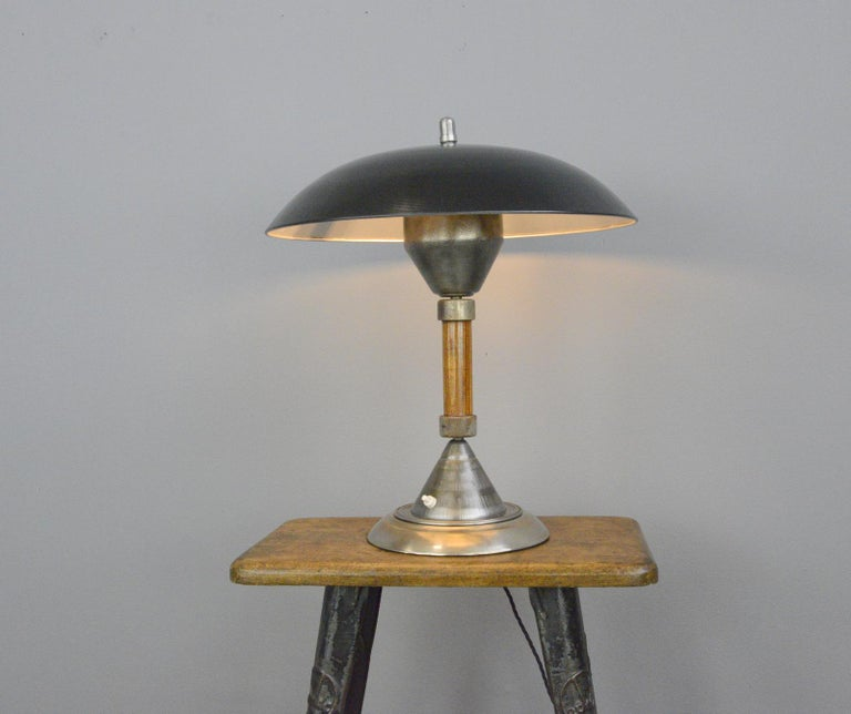 German Panzerfaust table lamp by Kaiser, circa 1940s  - Turned steel shade - On/Off switch on the base - Takes E27 fitting bulbs - Made by Kaiser - German, 1940s - Measures: 46cm wide x 50cm tall  Panzerfaust lamp  The Panzerfaust lamp
