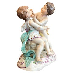20th Century Hand Painted Porcelain Playing Putti Centerpiece German Passau