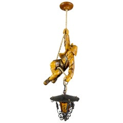 German Pendant Light Hand Carved Wood Figure Mountain Climber with Lantern