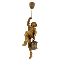 German Pendant Light Hand Carved Wood Figure Mountaineer Climber with Lantern