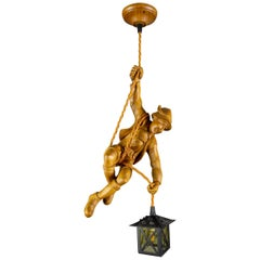 German Pendant Light Hand Carved Wooden Figure Mountain Climber with Lantern