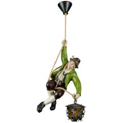 German Pendant Light with Carved Wooden Mountain Climber Figure and Lantern