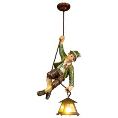 German Pendant Light with Hand Carved Mountain Climber Sculpture and Lantern