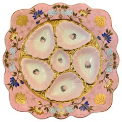 """German Pink and Gold Porcelain Square """"Marx Guther"""" Oyster Plate, circa 1910"""