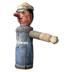 German Policeman Handcarved Folkart Midcentury Fairground Figure