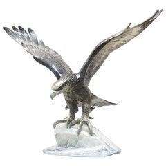 German Polychrome Porcelain Eagle by Fritz Heidenreich for Rosenthal, 1930s