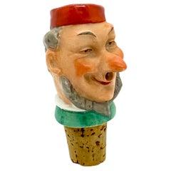 German Porcelain Figural Cheerful Man Head Cork Pourer Bottle Stopper, 1930s