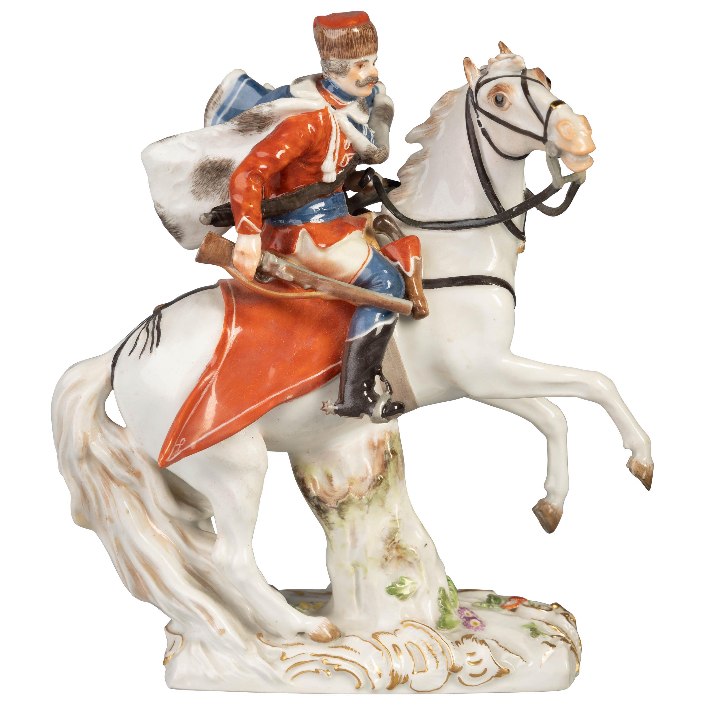 German Porcelain Figure of Hussar on Horseback, Meissen, circa 1880