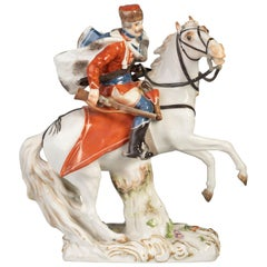 German Porcelain Figure of Hussar on Horseback, Meissen, circa 1880