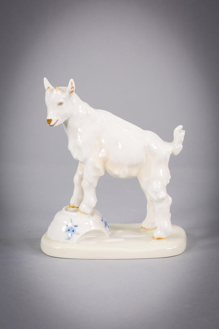 Early 20th Century German Porcelain Goat, Meissen, circa 1920 For Sale