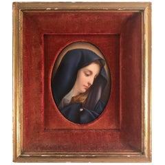 German Porcelain Miniature Portrait KPM Style Madonna after Raphael