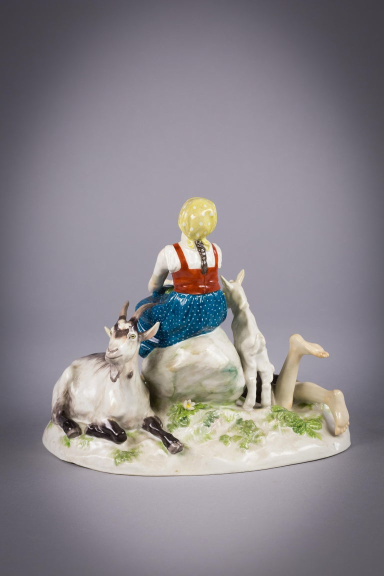 German Porcelain Pastoral Group, Meissen, circa 1925 In Good Condition For Sale In New York, NY