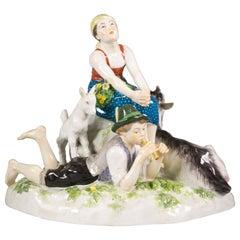 German Porcelain Pastoral Group, Meissen, circa 1925